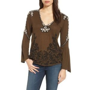 Lucky Brand Embroidered Bell-Sleeve Top